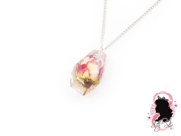 Bulgarian Pink and White Rose in Jewel Necklace